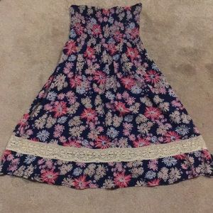 Roxy Floral Smocked Strapless Dress